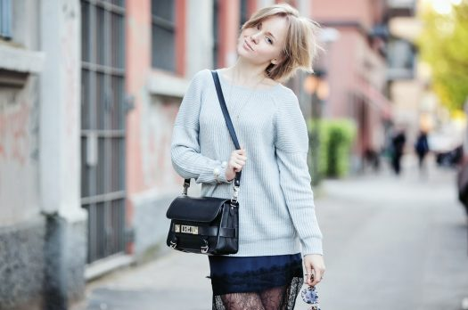 PERFECT GREY SWEATER AND LACE SKIRT. ASOS PRESENTATION