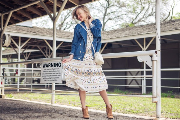 darya kamalova russian italian fashion blogger from thecablook in dallas on ranch in denim jacket and floral dress with ash booties and gucci disco bag-10 copy