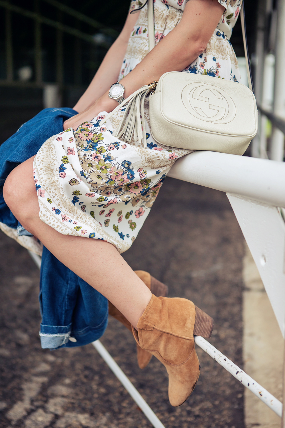darya kamalova russian italian fashion blogger from thecablook in dallas on ranch in denim jacket and floral dress with ash booties and gucci disco bag-60 copy