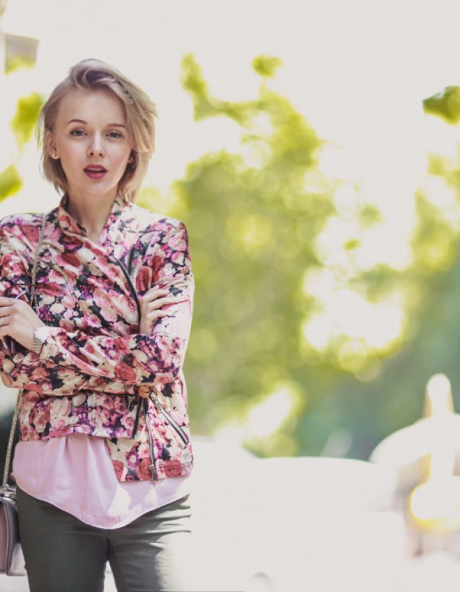 BARCELONA IN FLOWER BIKER JACKET