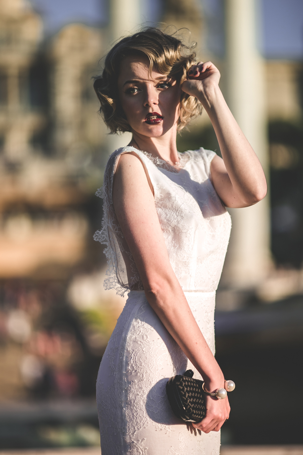 darya kamalova fashion blogger from thecablook in trip in Barcelona Spain with Pronovias 2015 wedding dresses collection catwalk wearing uel camilo white gown bottega veneta knot clutch and black lips-2137
