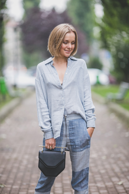 darya kamalova thecablook com russian italian fashion lifestyle blogger in milan for mfw ss15 wearing gat rimon pijamas suit zara flats m2malletier bag on iceberg fashion show-5335