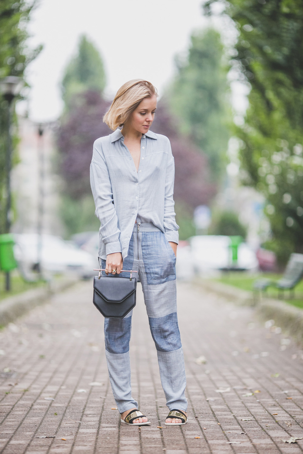 darya kamalova thecablook com russian italian fashion lifestyle blogger in milan for mfw ss15 wearing gat rimon pijamas suit zara flats m2malletier bag on iceberg fashion show-5368