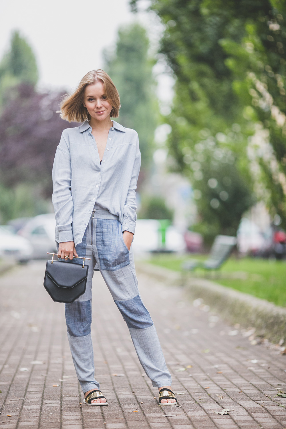 darya kamalova thecablook com russian italian fashion lifestyle blogger in milan for mfw ss15 wearing gat rimon pijamas suit zara flats m2malletier bag on iceberg fashion show-5383