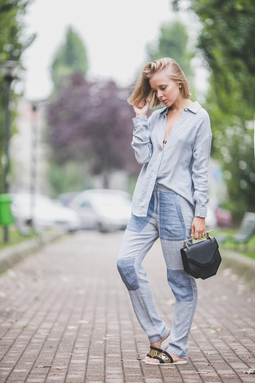 darya kamalova thecablook com russian italian fashion lifestyle blogger in milan for mfw ss15 wearing gat rimon pijamas suit zara flats m2malletier bag on iceberg fashion show-5385