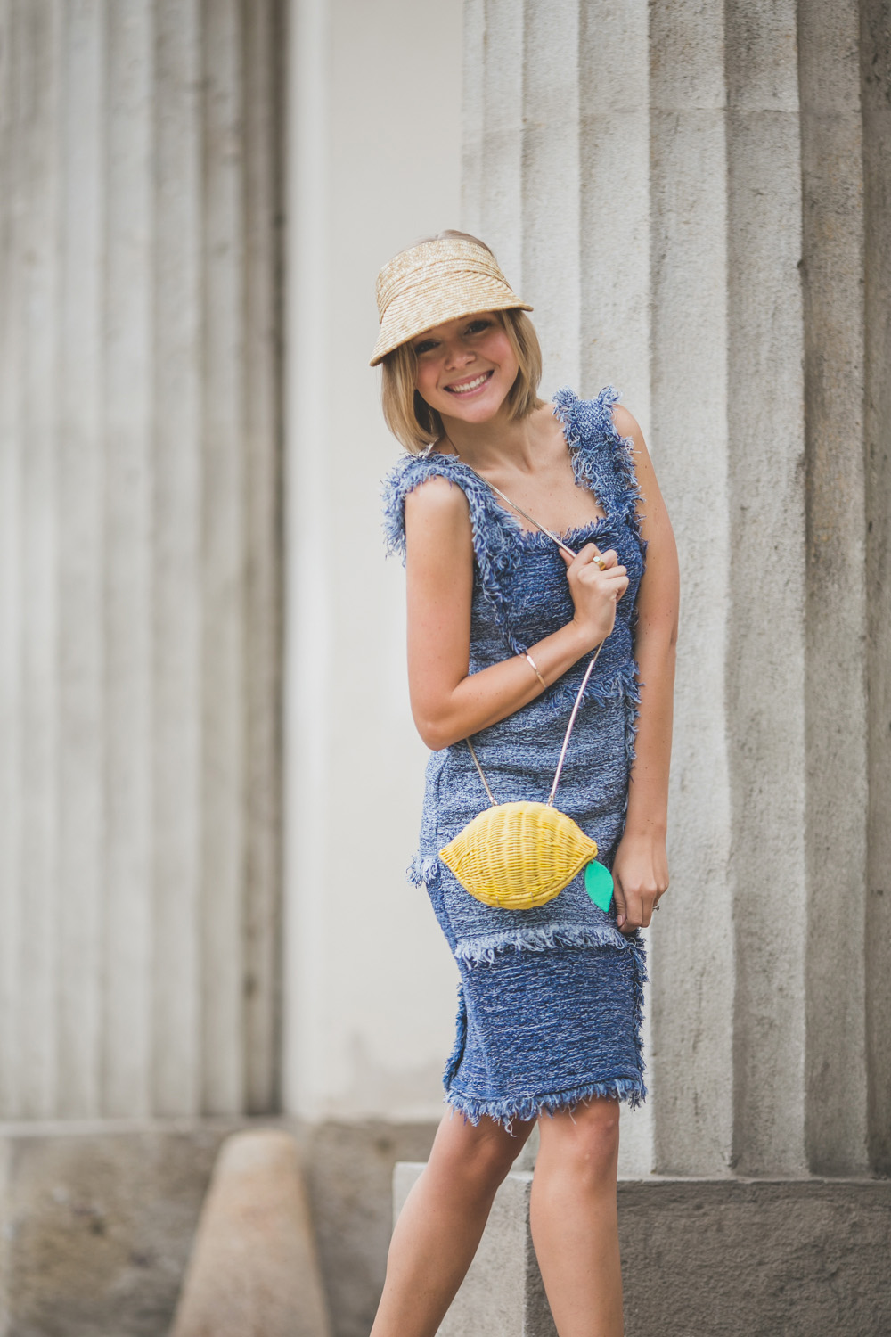darya kamalova thecablook com russian italian fashion lifestyle blogger in milan for mfw ss15 wearing m missoni denim dress burberry prosum wedges kate spade lemon bag asos visor straw hat casadei atos lombardini presentation -4959