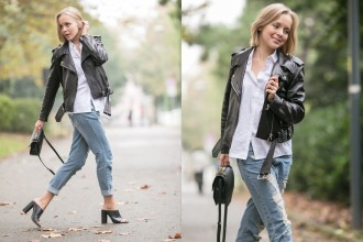 1darya kamalova thecablook russian fashion lifestyle blogger in italy outfit spring acne mape leather jacket with boyfriend ripped jeans mules ans m2malletier black bag-31